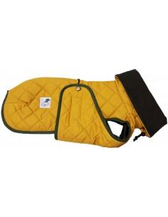 Abrigo impermeable acolchado para galgo mostaza con forro polar