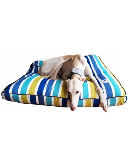 cama especial galgo rayas azules