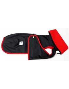 Abrigo Impermeable negro con forro polar para galgo
