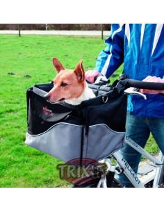 Cesta para llevar perro en bicicleta, en nylon negro y gris