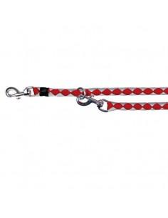 Correa para perro 3 posiciones nylon trenzado roja
