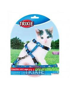 Arnés y correa para gato cachorro azul con dibujos