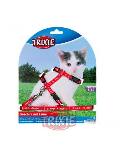 Arnés y correa para gato cachorro rojo con dibujos Kitty