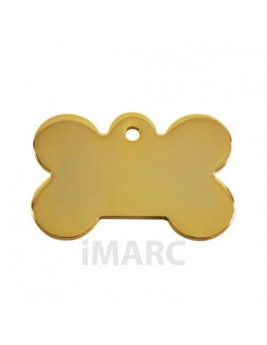 placa identificativa grabada perro hueso oro