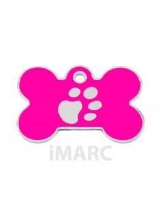 Placa identificativa para perro, hueso con huella grabada pequeña