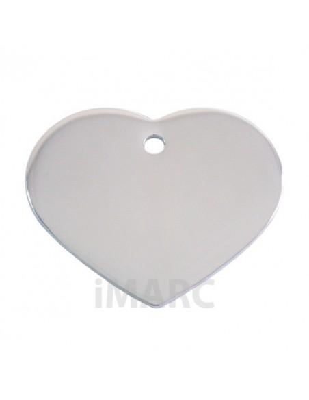 Placa identificativa para perro, corazón bañada en plata pequeña