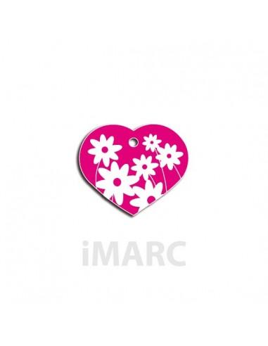 Placa identificativa para perro, corazón con margaritas en colores