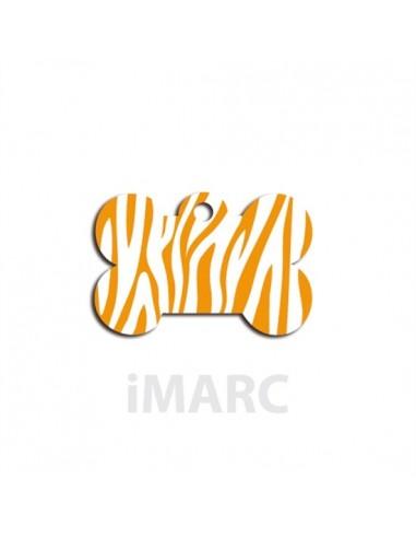 Placa identificativa para perro,  hueso decorado cebras