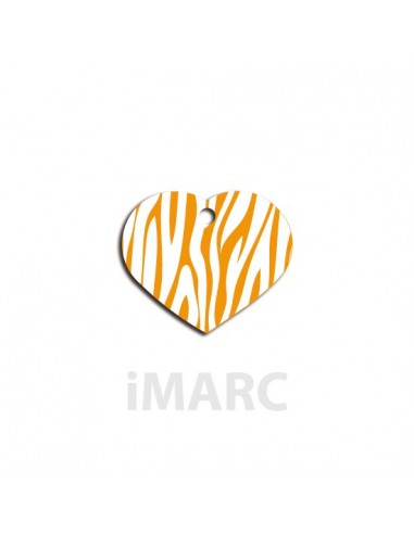 Placa identificativa para perro,  corazón pequeño decorado cebras