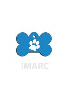 Placa identificativa para perro,  hueso decorado huella