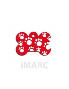 placa identificativa perro hueso huellas roja