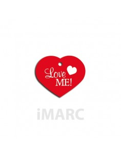 Placa identificativa para perro,  corazón decorado LOVE ME!
