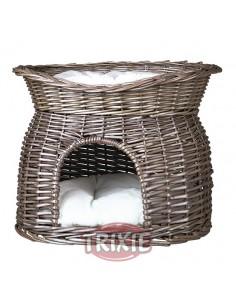 cueva de mimbre gris para gato
