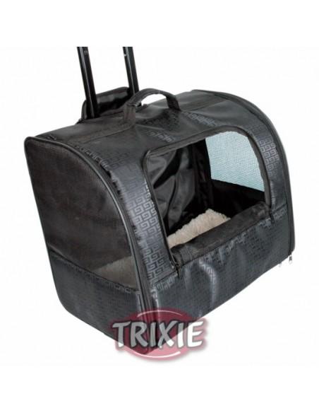 Trolley de paseo para llevar perro en poliester muy resistente, color negro
