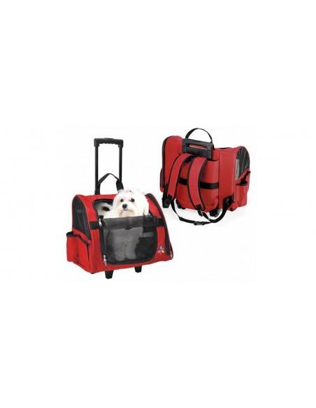 Trolley para transporte de perros en nylon rojo