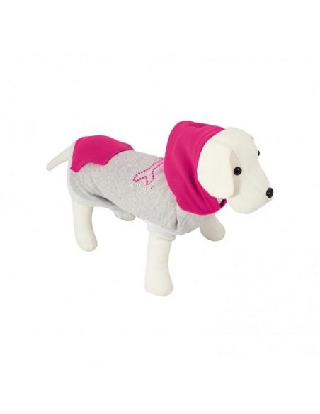 Sudadera para perro modelo Gloss Bone en gris y rosa