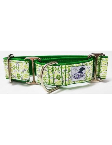 Collar para whippet o podenco en tela loneta muy resistente verde con flores blancas