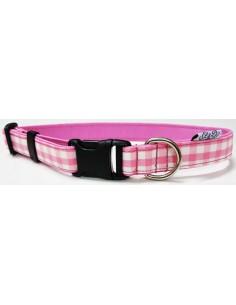 Collar para perro loneta de cuadros rosas y blancos