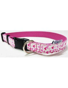 Collar para perro loneta rosa con corazones