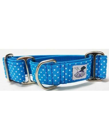 Collar para perro grande en tela loneta muy resistente azul con lunares blancos