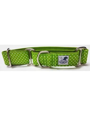 Collar para perro grande en tela loneta muy resistente verde con lunares blancos