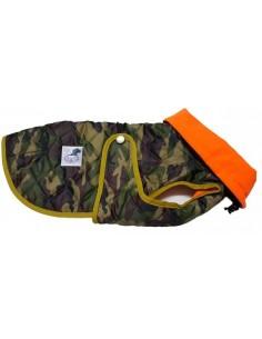 Abrigo impermeable acolchado de camuflaje con cuello, para perro