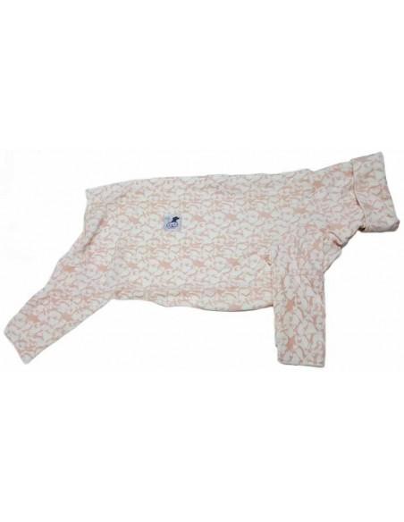 Pijama para perro de felpa, con pingüinos rosas