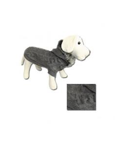 Jersey para perro punto con capucha y cuello gris