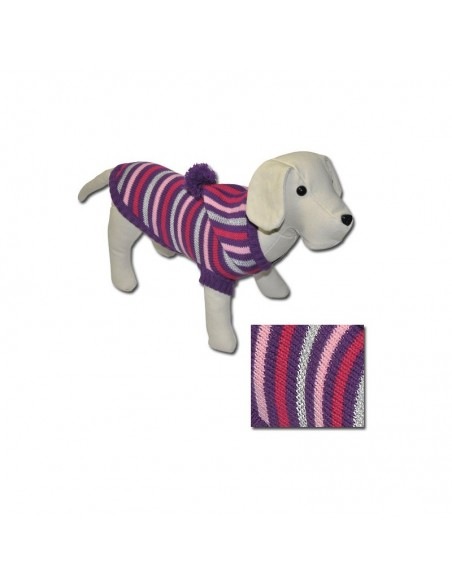 jersey para perro lana malva con capucha