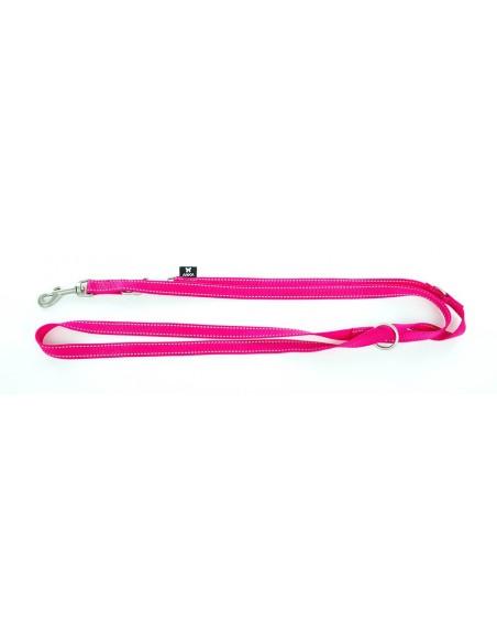 Correa para perro 3 posiciones en nylon rosa fluor