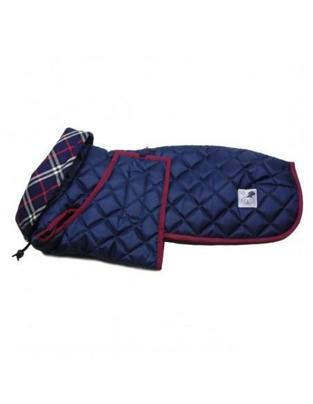 Ropa para perro - abrigo Impermeable Acolchado Galgo color azul marino