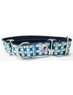 Collar para galgo en tela loneta muy resistente de círculos azules