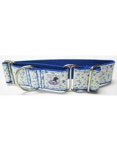 collar galgo flores azul