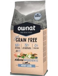 Pienso para perros adultos OWNAT Just Grain Free cordero