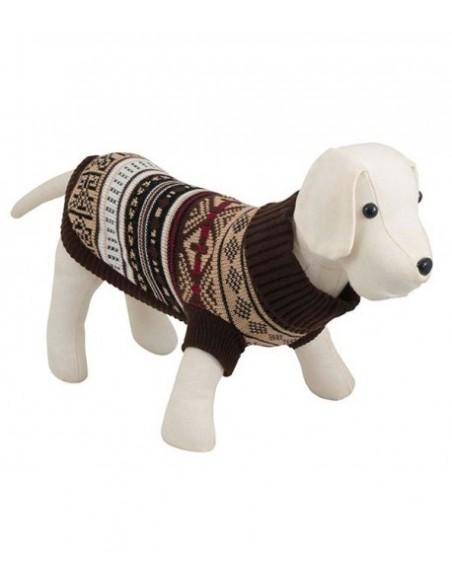 Jersey para perro Oaxaca con cuello alto en color marrón