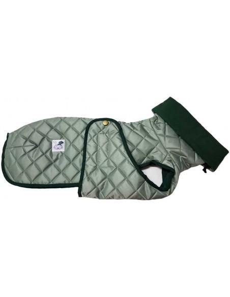 Abrigo impermeable acolchado para galgo verde con forro polar