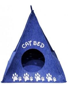 Cueva para gato pirámide azul