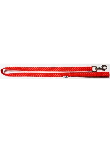 Correa para perro en tela roja con lunares blancos