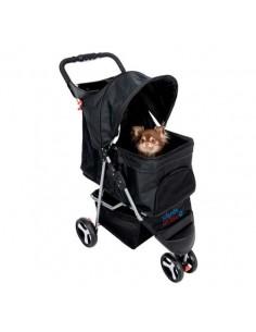 Cochecito para transporte de perros en aluminio y nylon negro