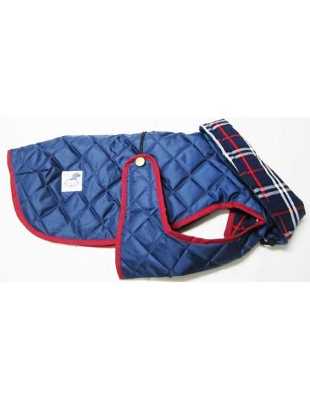 Impermeables para perros modelo Tortuga acolchado con cuello azul marino