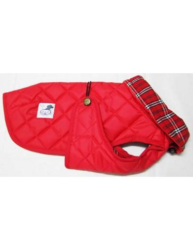 Impermeables para perros modelo Tortuga acolchado con cuello rojo