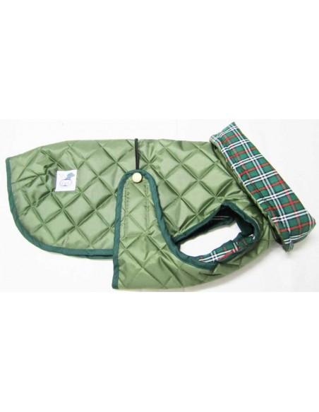 Impermeables para perros modelo Tortuga acolchado con cuello verde