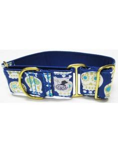 Collar galgo en tela loneta azul catrinas