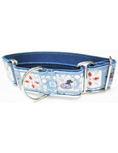 Collar galgo en tela loneta azul con cuadrados